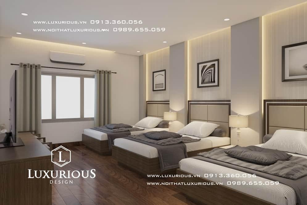 Thiết kế thi công nội thất phòng ngủ khách sạn