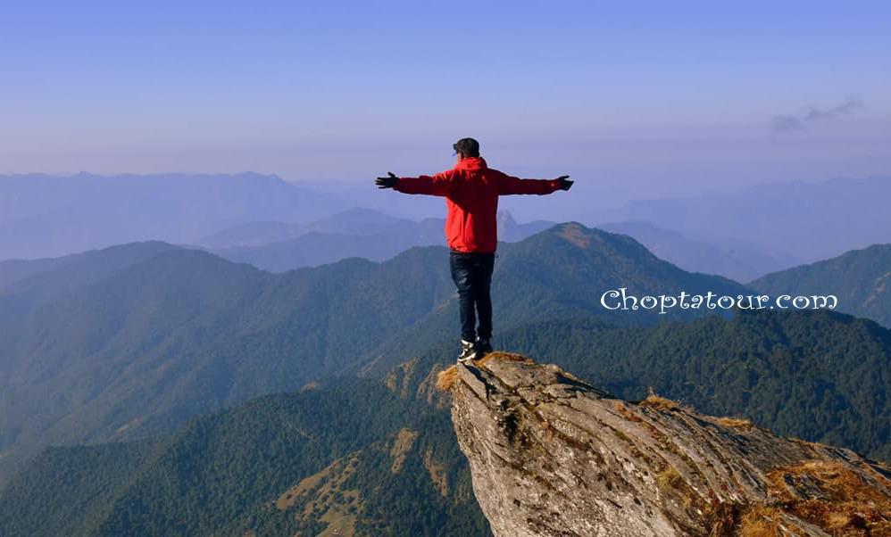 Trekking in Chopta -View of Chopta valley after 3.5km trek