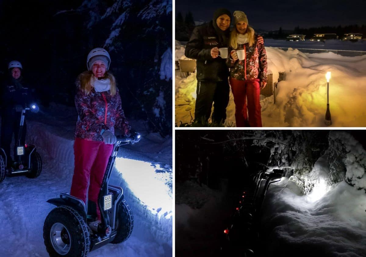 Segway Fahrer im Winter und Lampen
