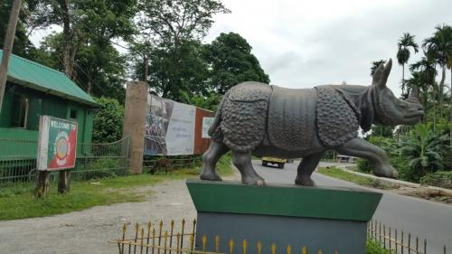 A huge statue of a rhinoceros was waiting to welcome us
