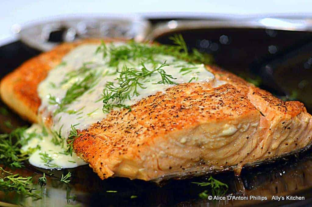 skillet salmon with bleu cheese & dill