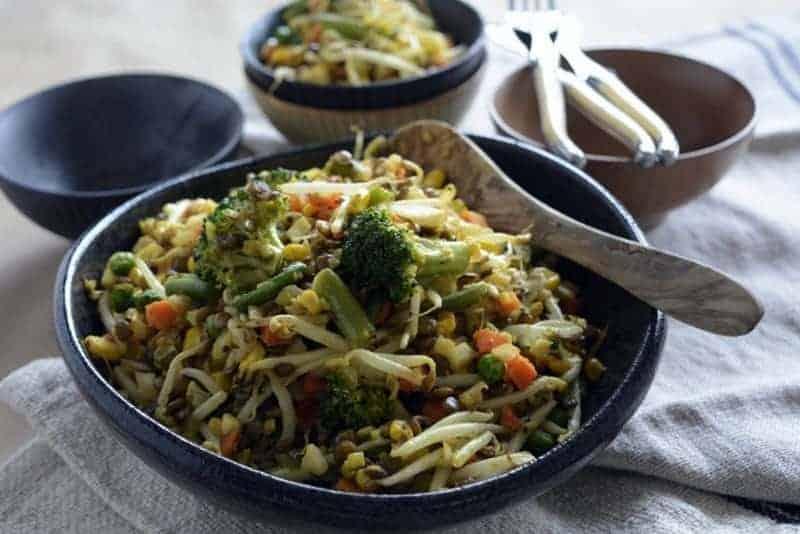Kitchari Cauliflower Rice Lentils and Vegetables