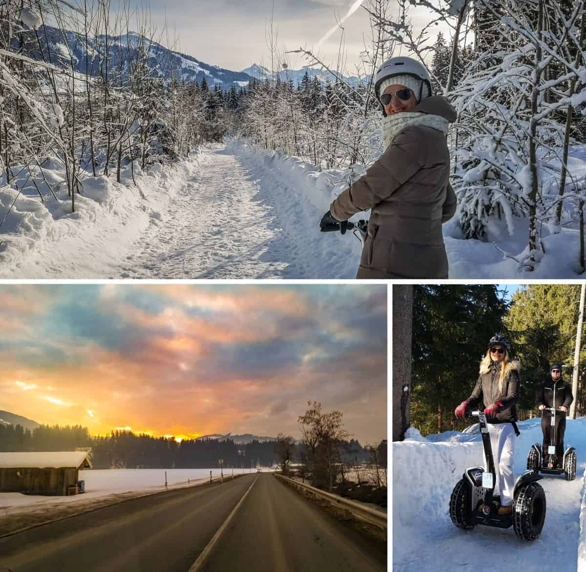 Segway Fahrer auf tief verschneitem Wanderweg