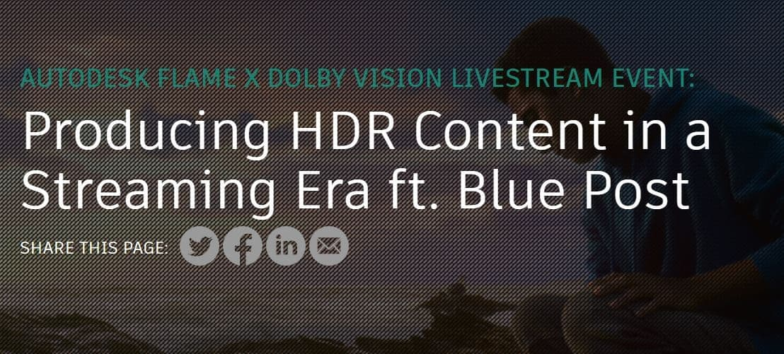 Producing HDR Content for Dolby Vision in Flame Live!