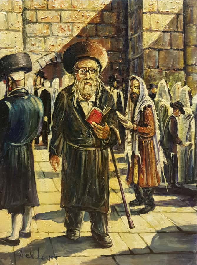 Original Oil Painting: Man by the Wailing Wall Kotel