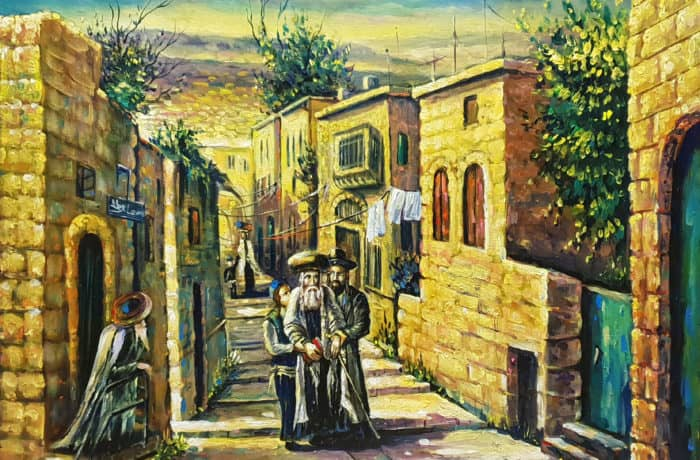 Original Oil Painting: Walking on the street of Zfat