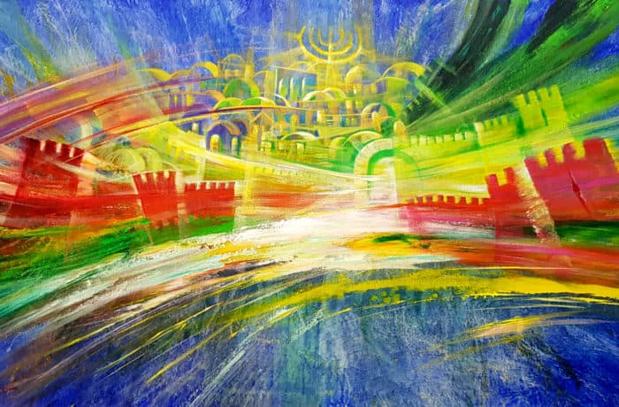 Original Oil Painting: Abstract colors of Jerusalem