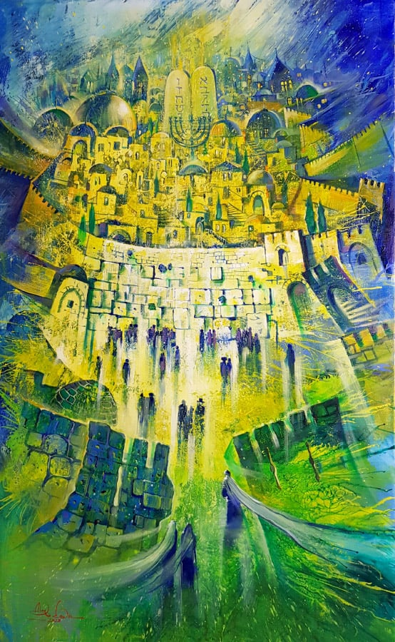 Original Oil Painting: All the paths leads to the holy city of Jerusalem