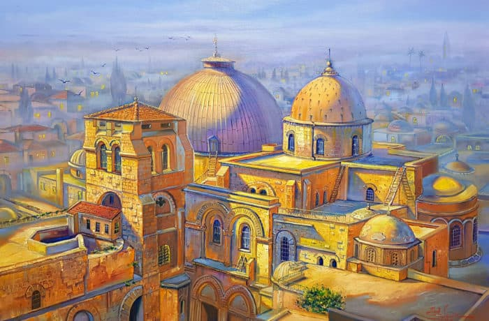 Original Oil Painting: Sunrise over the Church of the Holy Sepulchre in the Christian Quarter of the Old City of Jerusalem