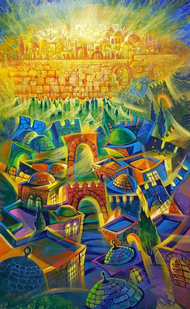 Original Oil Painting: Earthly Jerusalem meets heavenly Jerusalem