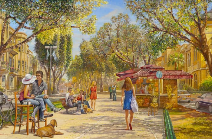 Original Oil Painting: Fun time in Tel Aviv under the Sun
