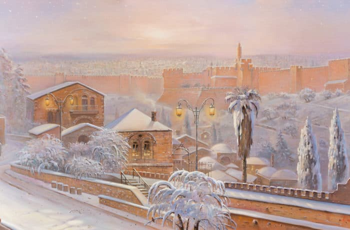 Original Oil Painting: Jerusalem wears white