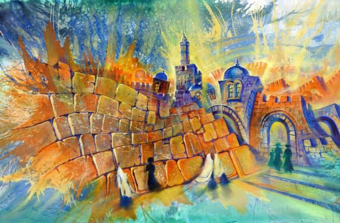Original Oil Painting: Kabbalat Shabbat at the Kotel