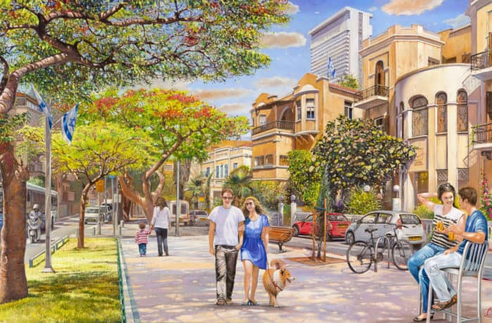 Original Oil Painting: Let's fall in love on Rothschild street