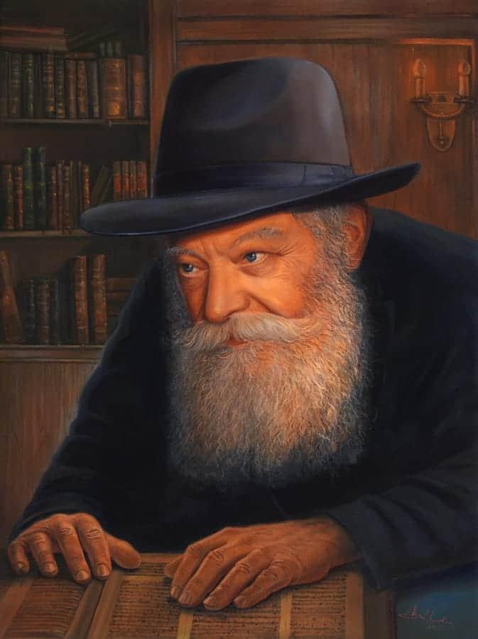 Original Oil Painting: The Lubavitcher Rebbe, Rabbi Menachem Mendel Schneerson