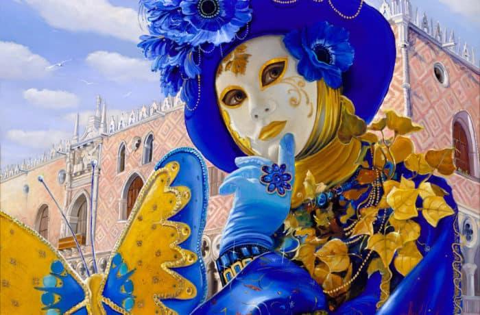 Original Oil Painting: Musing of azure mask