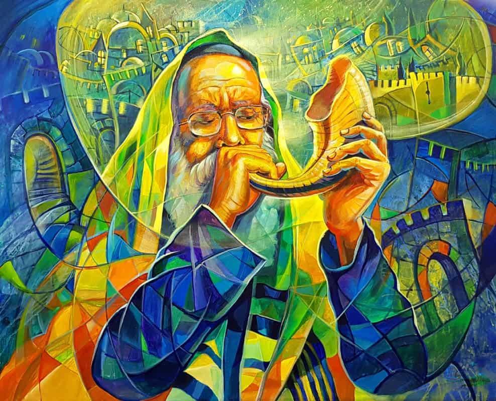 blowing shofar painting