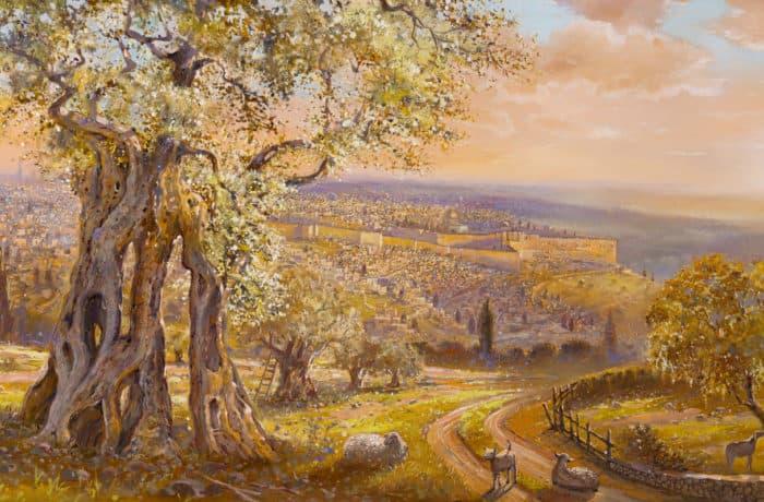 Original Oil Painting: Old Jerusalem behind the olive tree