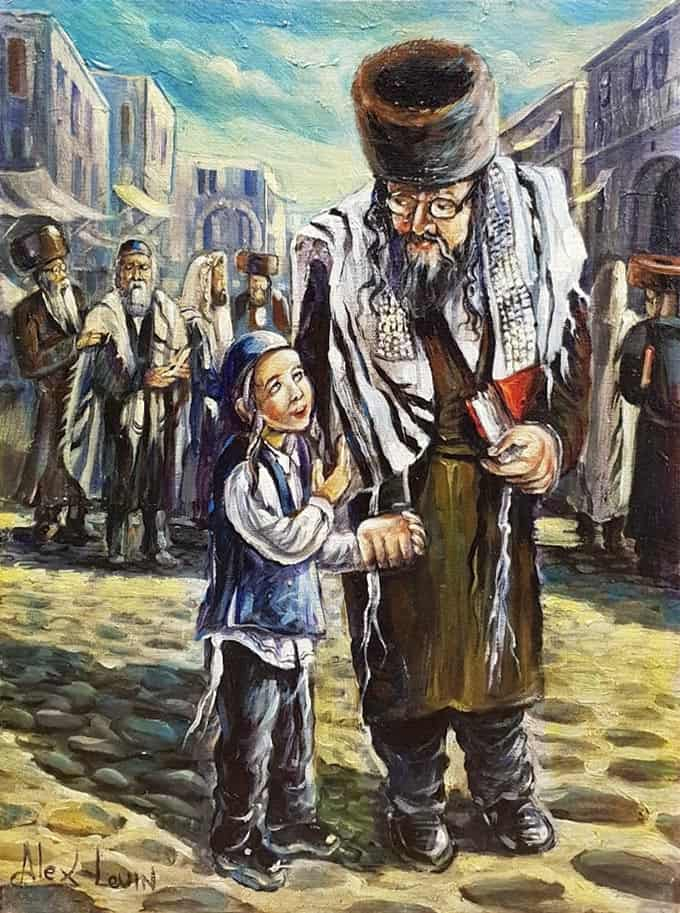 Original Oil Painting: On the way to synagogue