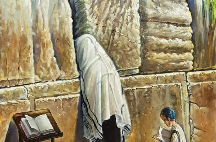Original Oil Painting: Praying by the Wall