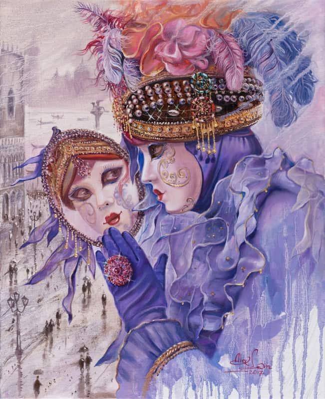 Original Oil Painting: Purple Reflection
