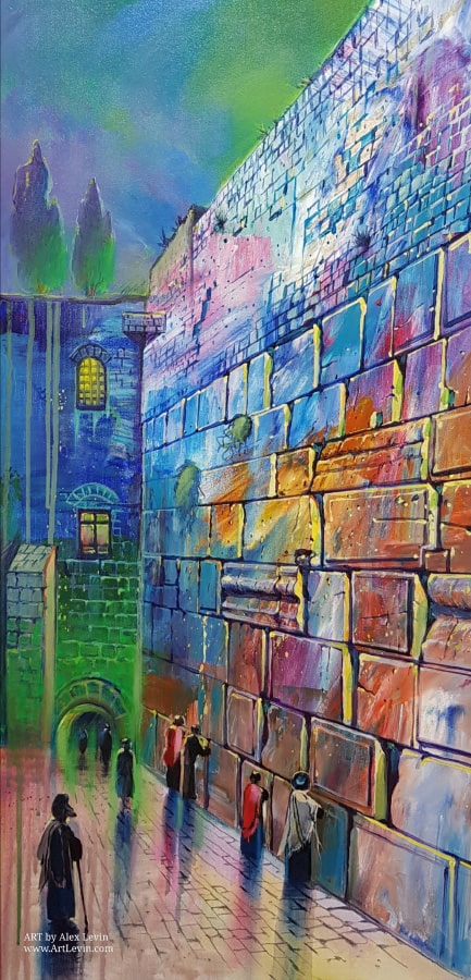 Original Oil Painting: Rainy morning by the Western Wall