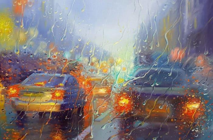 Original Oil Painting: Rainy street of Tel Aviv