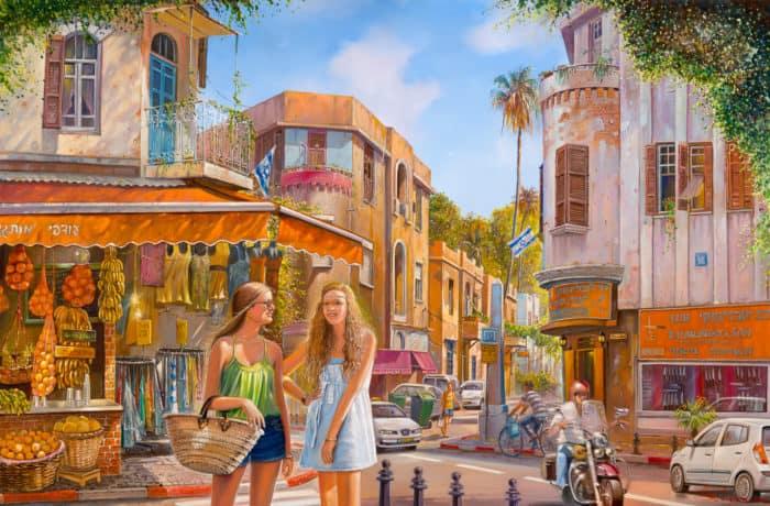 Original Oil Painting: Shopping is always fun in Bezalel Market in Tel Aviv