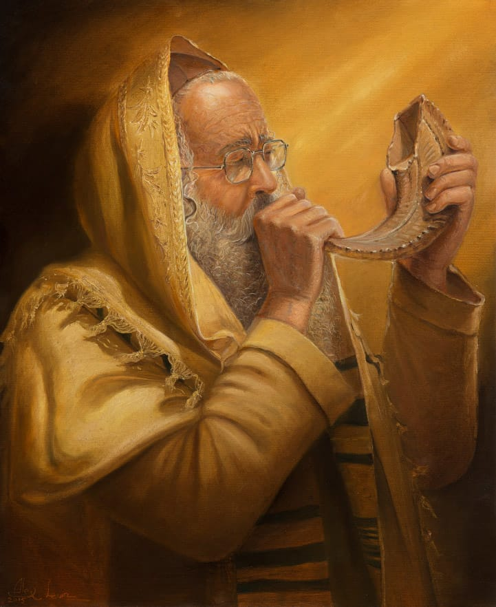 Jewish Painting of blowing in shofar
