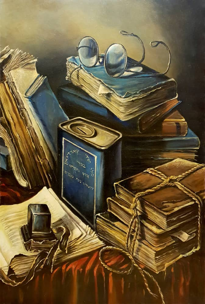 Original Oil Painting: Still life with books and glasses