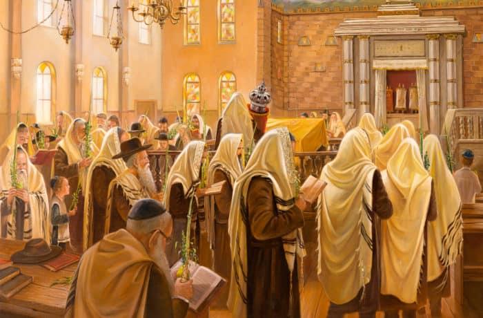 Original Oil Painting: Sukkot in Kfar Chabad Synagogue