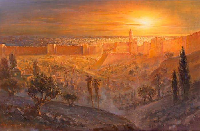 Original Oil Painting: Sunset over Migdal David