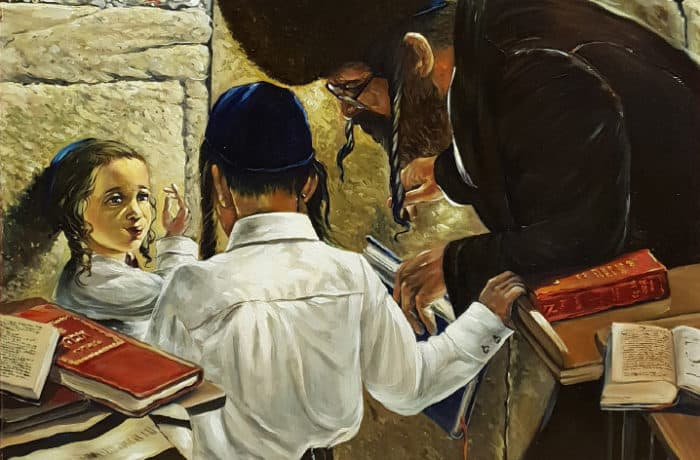 Original Oil Painting: Teaching the lesson