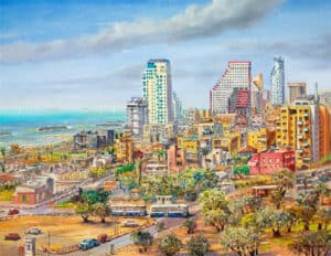 Bird's Eye View of Tel Aviv, Painting by Alex Levin