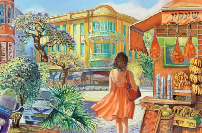 Original Oil Painting: On the way to the Carmel Market in Tel Aviv