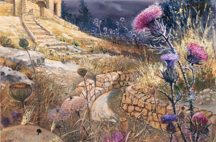 Original Oil Painting: The Kastel, where the siege of Jerusalem was finally broken