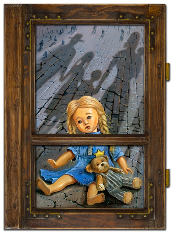 Original Oil Painting: The story of the window and lonely toy from Poland