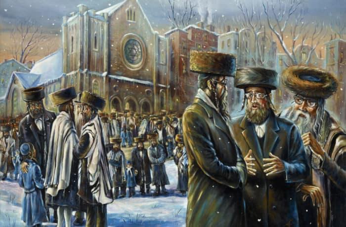 Original Oil Painting: Winter Sabbath in Williamsburg