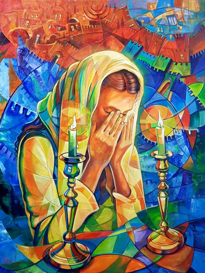 Original Oil Painting: Woman honoring the Shabbat