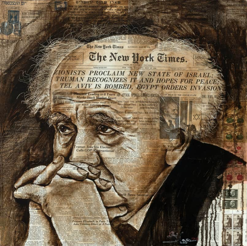 painting of ben gurion on newspaper