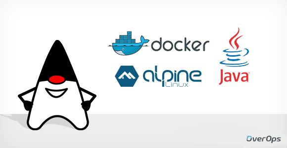 duke with logos: docker, Java and alpine linux