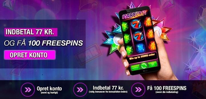 Betal mindst 77 kr. at aktivere de gratis spins til Starburst på 777.dk casino.