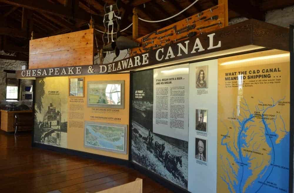 Displays document the canal's past at the C&D Canal Museum.