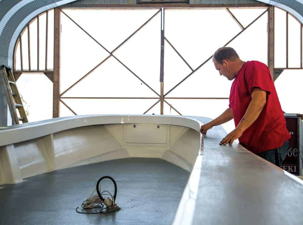 Kevin Marshall rebuilt the boat in his Crisfield shop. Photo by Jay Fleming