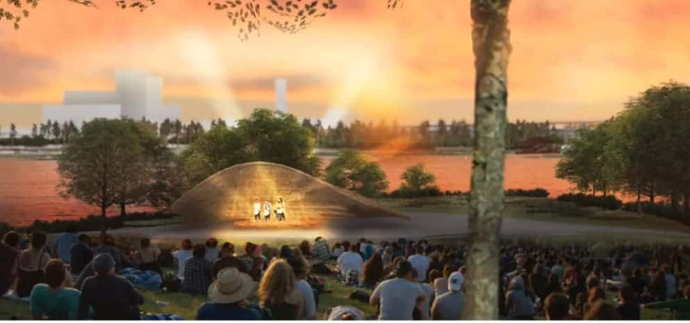 "West 8's""Blue Green Heart"" design includes n ampitheater with a band shell."