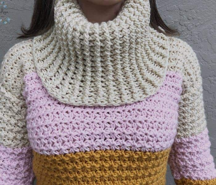 Sunset Cowl Neck Sweater a Free Crochet Pattern