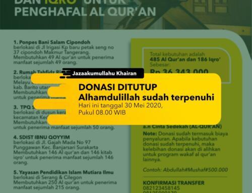 Penutupan Donasi – DONASI WAQAF QUR'AN DAN IQRO' UNTUK PENGHAFAL AL QUR'AN