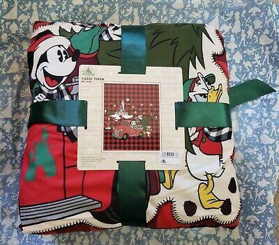 Disney Parks 2019 Mickey Mouse Christmas Holiday Plaid Fleece Blanket Throw NEW