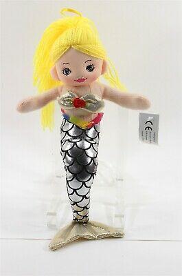 Mermaid Doll Made in Denmark, Silver Tail Yarn Hair, Shelf Sitter, Ornament, Toy