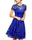 ZANZEA Women's Sexy Casual Summer Lace Round Neck Short Sleeve Princess Dress Party Ball Gown Blue US 18